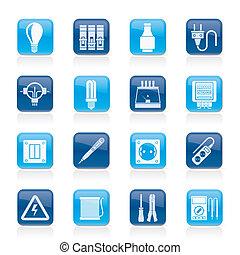Elétrico, dispositivos, ícones