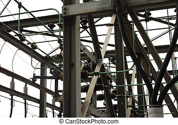 elétrico, distribuição, cubo