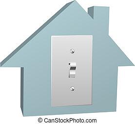 elétrico, electricidade, casa, interruptor, luz, lar