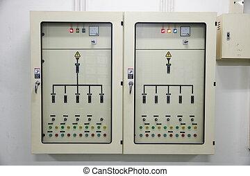 elétrico, energia, controle, cabinet.