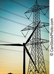 elétrico, equipments, silueta