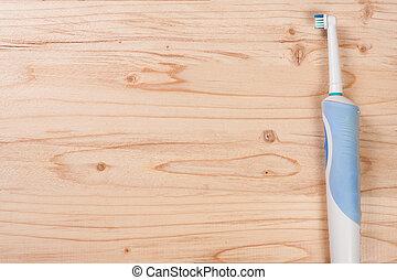 elétrico, espaço, topo madeira, text., fundo, cópia, seu, toothbrushes, vista