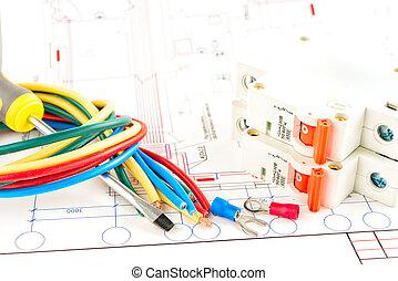 elétrico, ferramentas, branco, fundo