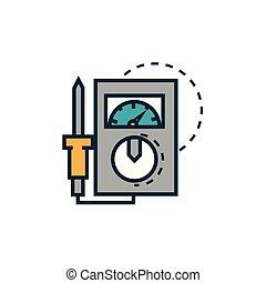 elétrico, ferramentas, multímetro, trabalho, medindo, engenharia, ícone