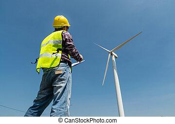 elétrico, gerador, escrita, poder, área de transferência, relatório, turbina, vento, engenheiro