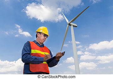 elétrico, gerador, escrita, poder, sob, relatório, turbina, vento, engenheiro
