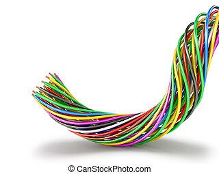 elétrico, ilustração, multi-colorido, wires., 3d, grupo