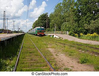 elétrico, local, trem, em, a, plataforma, em, rural, áreas