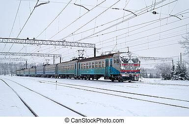 elétrico, local, trem