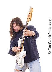 elétrico, músico, guitarra, rocha, jogando baixo