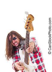 elétrico, músico, rosto, guitarra, expressão, jogando baixo