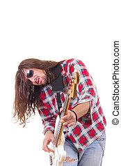 elétrico, músico, rosto, guitarra, macho, expressão, jogando baixo
