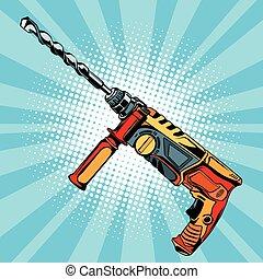 elétrico, martelo, broca, é, um, profissional, ferramenta,...