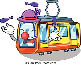 elétrico, miniatura, forma, trem, juggling, caricatura