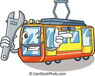 elétrico, miniatura, forma, trem, mecânico, caricatura