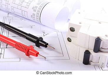 elétrico, multímetro, fusível, elétrico, cabos, diagramas