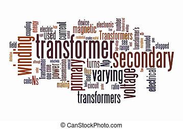 elétrico, transformador, palavra, nuvens
