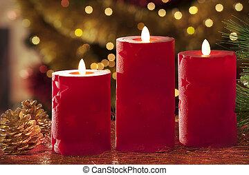 elétrico, velas, com, decorações natal, em, atmosférico, luz