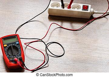 elétrico, voltagem, multímetro, tomada, medida