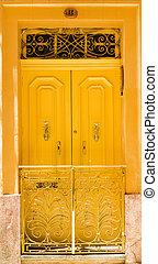 elülső, épület, ajtó