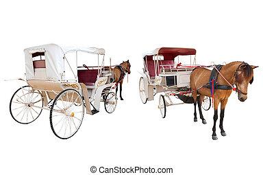 elülső, és, hátsó kilátás, közül, ló, tündérmese, kocsi, fülke, elszigetelt