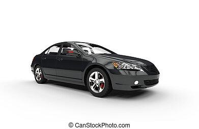 elülső, autó, 2, fekete