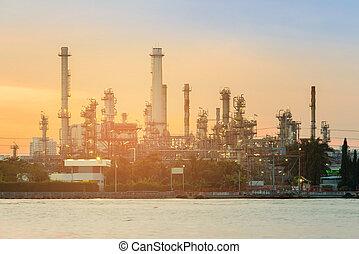 elülső, berendezés, petrolkémiai, folyó, olaj