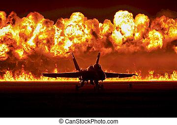 elülső, felrobbanás, sugárhajtású repülőgép