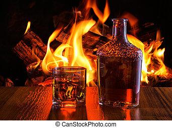 elülső, fireplace., meleg, ital, alkoholista