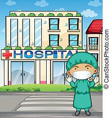 elülső, kórház doktor