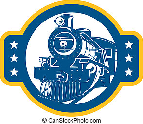 elülső, kiképez, retro, lokomotív, gőz