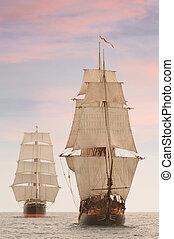 elülső, magas hajó, kilátás