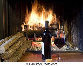 elülső, pohár, kandalló, bor