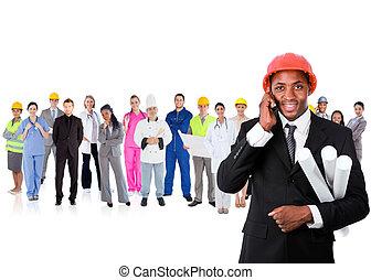 elülső, telefon, építészmérnök