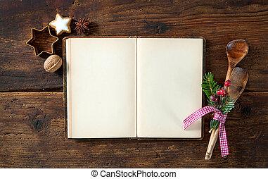 előírások, szakácskönyv, karácsony, üres