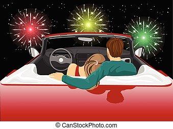 előadás, autó, párosít, tűzijáték, ülés, átváltható, élvez, piros