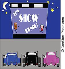 előadás, autózás, idő