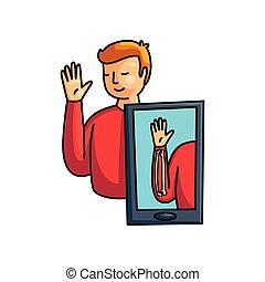 előadás, emelkedik, feláll, realitás, ember, játékkockák, kéz, augmented