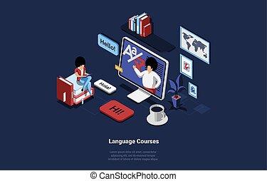 előadó, isometric, nagy, havibaj, ellenző, ülés, eszköz, ábra, számítógépes nyelv, mozgatható, zenemű, felolvasás, karikatúra, diák, előjegyez, női, monitor, style., fogalom, időz, 3
