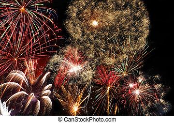 előest, év, tűzijáték, új év