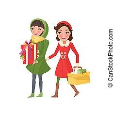 előkészítés, ünnepek, bevásárlás, karácsony, nők