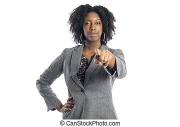 előmozdít, üzletasszony, black női, hegyezés