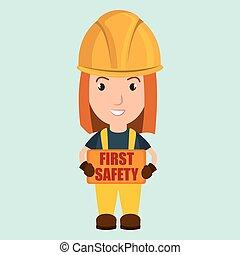 először, biztonság, munkás, ikon