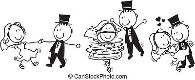 először, táncol, esküvő, karikatúra