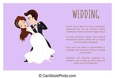 először, táncol, esküvő, poszter, párosít, newlywed, tánc
