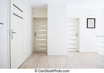 előszoba, noha, fehér, ajtók