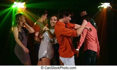 előtér, nightclub:, lassú táncol, companies., synchronous,...
