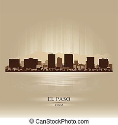 el, シルエット, 都市, paso, スカイライン, テキサス