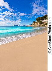 el, トルコ石, moraira, 水, alicante, playa, portet, 浜