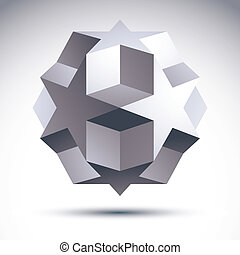 el, 抽象的, オブジェクト, polygonal, ベクトル, デザイン, origami, 幾何学的, 3d